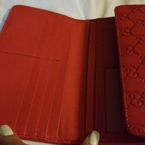 2a2d6338249 Gucci Bags - Red Gucci full size wallet with coin zip.